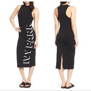 NWOT Ivy Park Black Shadow Logo Midi Dress